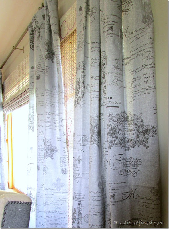 Grey French Motif Drapes @ Rustic-refined.com