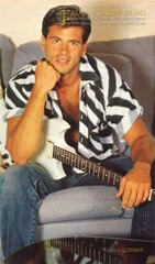 Falcon Crest Season 5<br />Lorenzo Lamas at his home with guitar