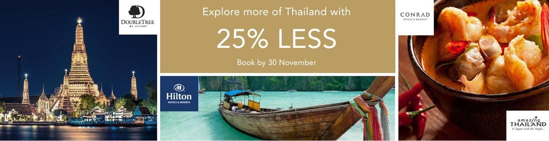 Hilton希爾頓集團旗下11間泰國酒店促銷,低至75折,明年4月前入住,即日開賣。
