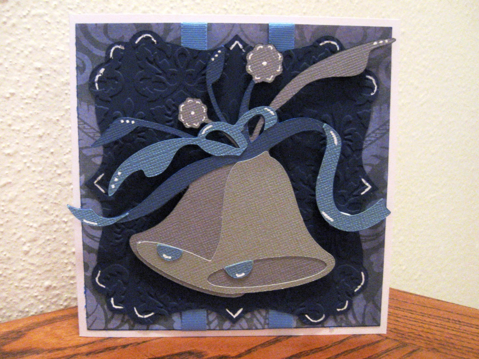 Blue & Silver Wedding Card