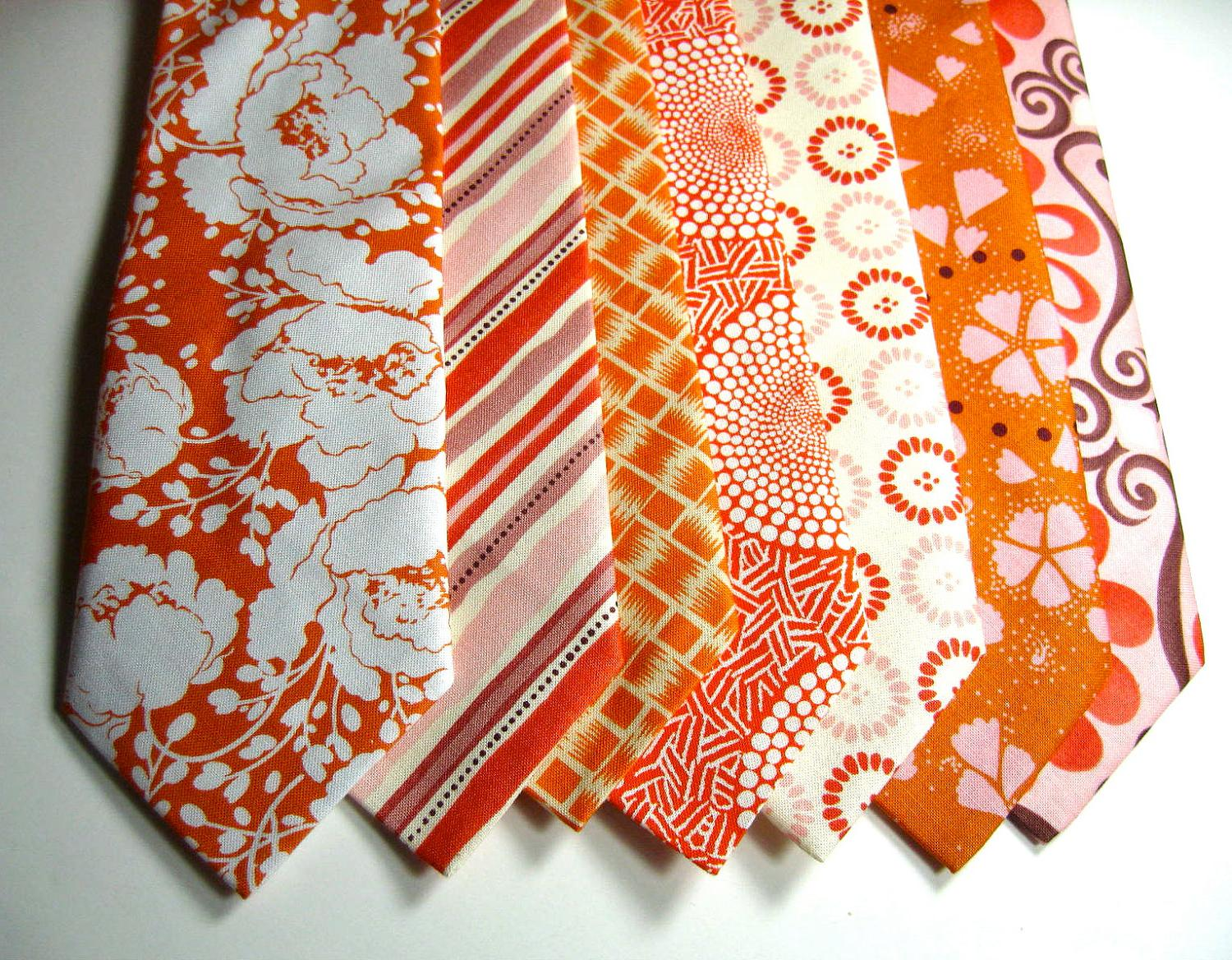 Orange Neckties, Mens Neckties