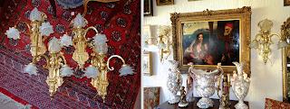Шесть настенных светильников. ок.1900 г. Позолоченная бронза, стеклянные плафоны. 45/40/60 см. 8500 евро.