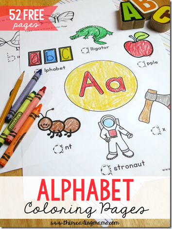 FREE Alphabet Coloring Pages!! Toddler, Preschool, and Kindergarten age kids will have fun learning their letters with these fun coloring sheets. Each of the free 52 pages covers a different letter to build vocabulary, build fine motor skills, and practice making letters. LOVE THESE!