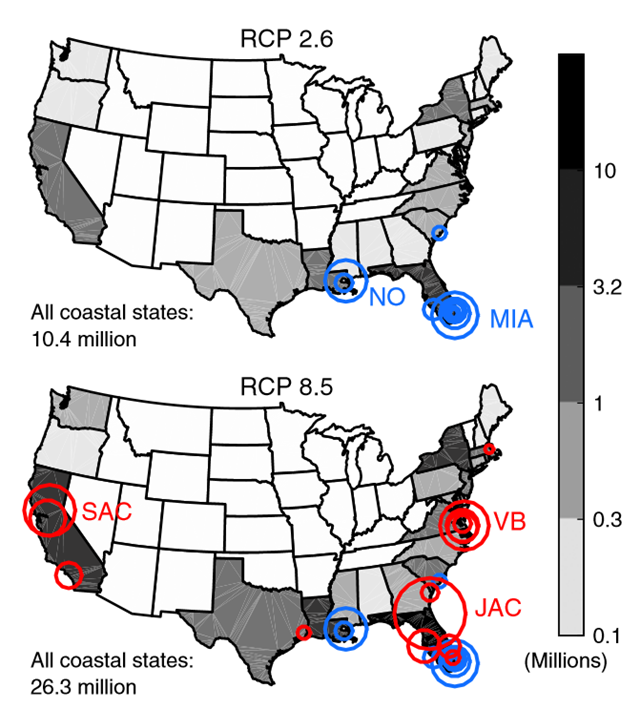 State and total populations on land and major cities in which the majority of the U.S. population occupies land committed to fall below future high tide lines given emissions through 2100 under RCP 2.6 (blue city markers on both maps) or 8.5 (red city markers) and assuming the baseline Antarctic case. Only implicated cities with total populations exceeding 100,000 are shown; the marker radius is proportional to the total city population, ranging from 105,162 (Cambridge, MA) to 819,050 (Jacksonville, FL) persons. Graphic: Strauss, et al., 2015 / PNAS