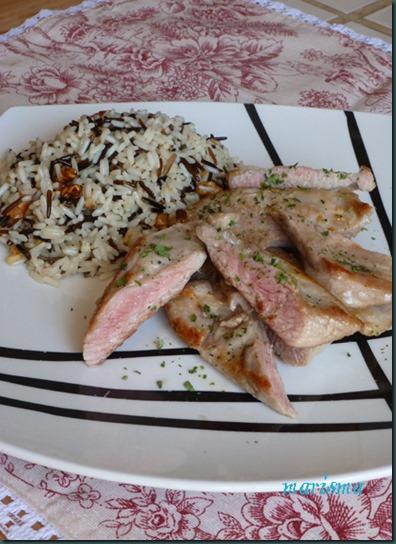 secreto ibérico con salteado de arroz salvaje,ración copia