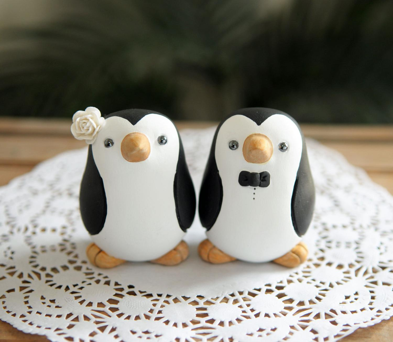 Penguin Wedding Cake Topper -