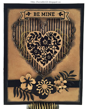 Linda Vich Creates: Bloomin' Masculine Valentine. Kraft and black combine in this masculine styled card using the Bloomin' Heart Thinlits Die and the Bloomin' Love stamp set.