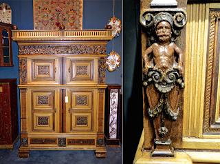 Антикварный шкаф 18-й век. Четыре дверки, четыре выдвижных ящика. 142/60/202 см.