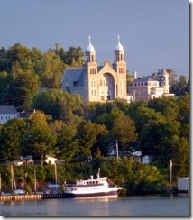Ornate church and tour boat in Newport VT