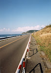 Empty road and hill on the Sea of Japan coast.