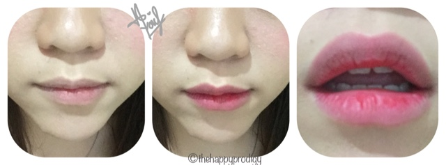 Peripera Lip Water Tint #5 Strawberry Pink applied on lips