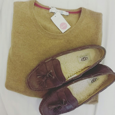 Boden cashmere and Ugg loafers