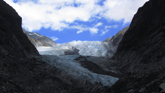 An unusually clear view up the length of New Zealand's Franz Josef Glacier.
