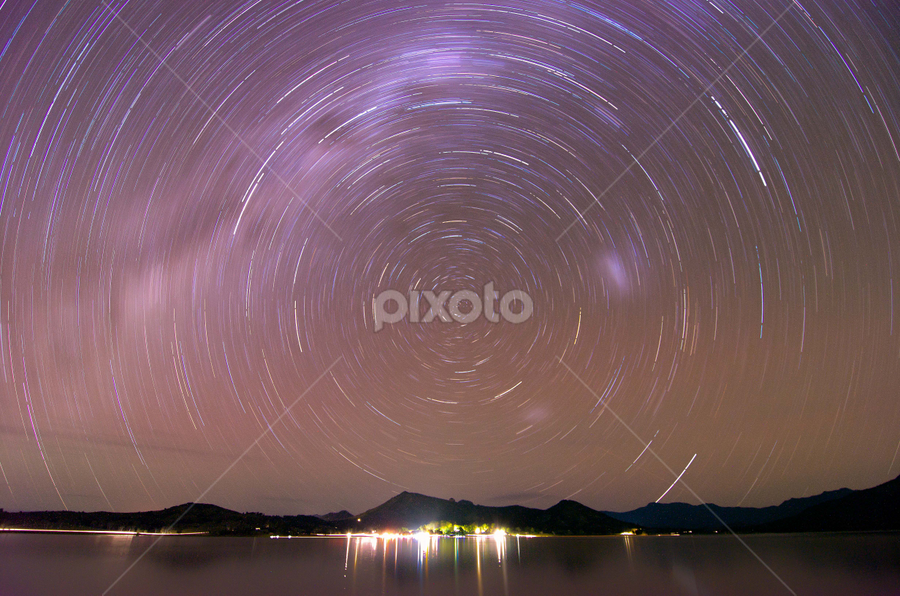 by Munzer Shamsul - Landscapes Starscapes ( lake moogerah, australia, star trails )