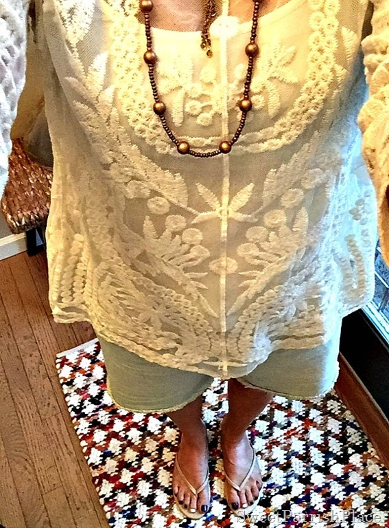 Cream Lace top, denim cut offs2