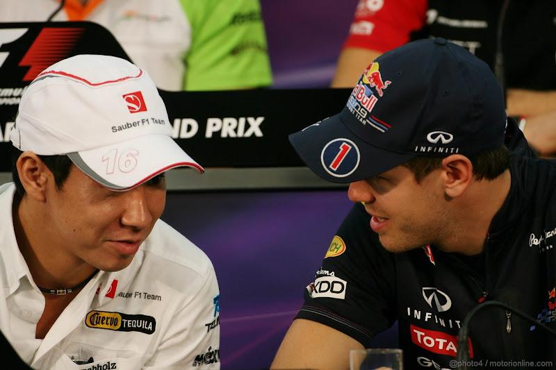Камуи Кобаяши и Себастьян Феттель на пресс-конференции Гран-при Японии 2011