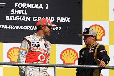 Дженсон Баттон и Кими Райкконен на подиуме Гран-при Бельгии 2012