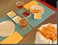 Fries are ready with the beer