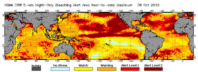Map showing the year-to-date maximum coral bleaching thermal stress alert area for 1 January 2015 - 6 OCtober 2015. Graphic: NOAA / Coral Reef Watch