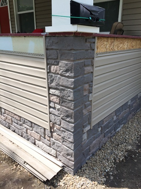 Porch Siding and Faux Stone Panels Corner Detail