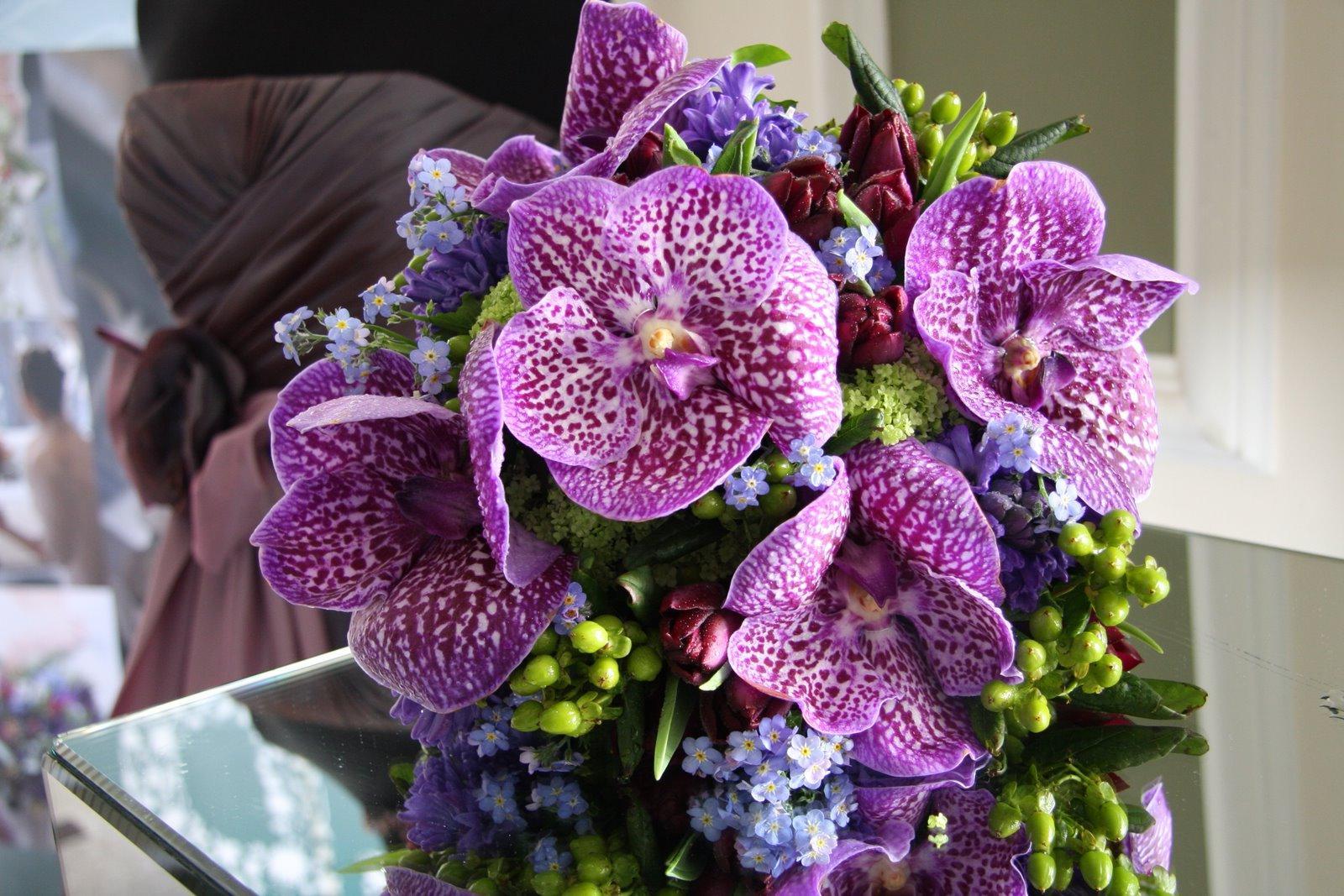 wedding bouquet orchid blue