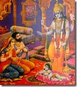 [Krishna appearing before Vasudeva and Devaki]