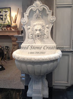 6-FT Lion Wall Fountain W/ Scrolled Pedestal, Cumulus White