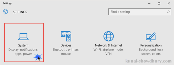 Windows 10 - Settings - System (www.kunal-chowdhury.com)