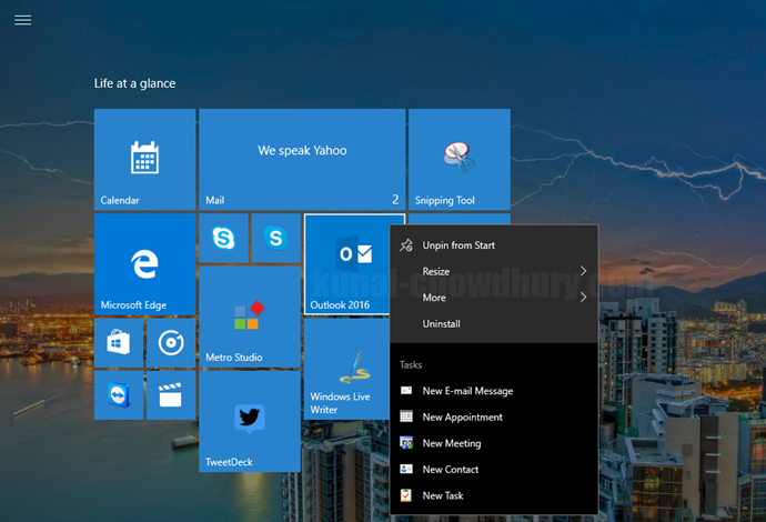 4. Windows 10 Start Menu Context Menu - App specific Tasks (www.kunal-chowdhury.com)