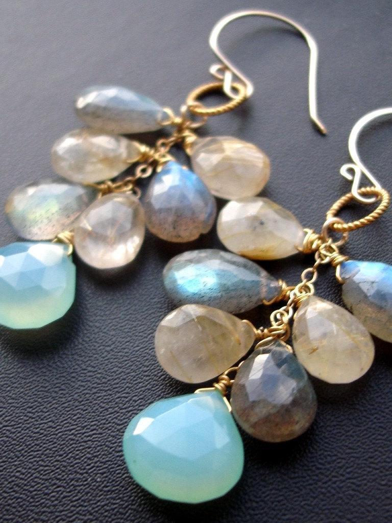 Blue gray Labradorite , Gold