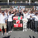 Sergio Perez and Sauber celebrate his 3rd place