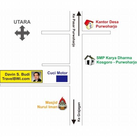 Peta Alamat Travel BWi Banyuwangi