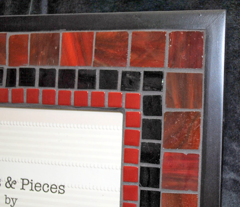 "Deep Burgundy & Black 8"" x 10"" Mosaic Photo Frame MOF1397"