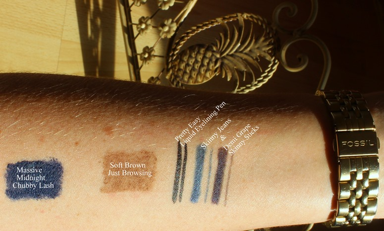 Clinique-ChubbyLash-MassiveMidnight-Blue-swatch,Just-Browsing-Soft-Brown-swatch,SkinnyStick-DemiGrape-swatch,SkinnyJeans-swatches