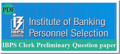 IBPS Clerk Preliminary Question paper PDF Set3