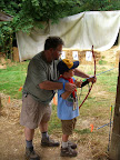 Archery is also a fun learning area - we learn to shoot safely at the targets