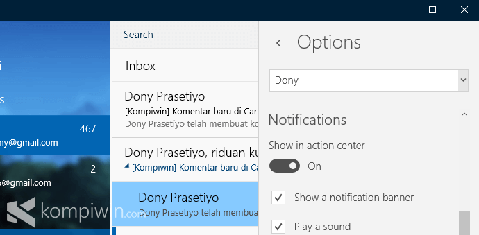 option mail windows 10