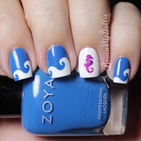 For My Accent Nail I Lied A Seahorse Vinyl Stencil And Sponged On Zoya Harlow Pulled The Off Cleaned Up Topcoated Really Like How This One