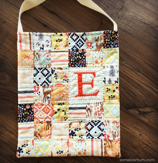 Patchwork Library Bag with Initial