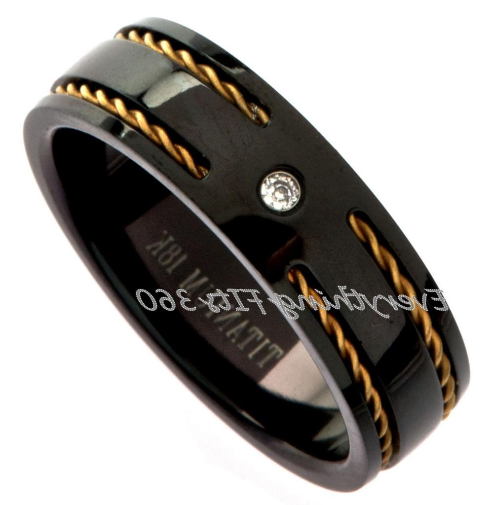 Black Titanium Wedding Band Ring. 7mm width 2mm CZ. main image