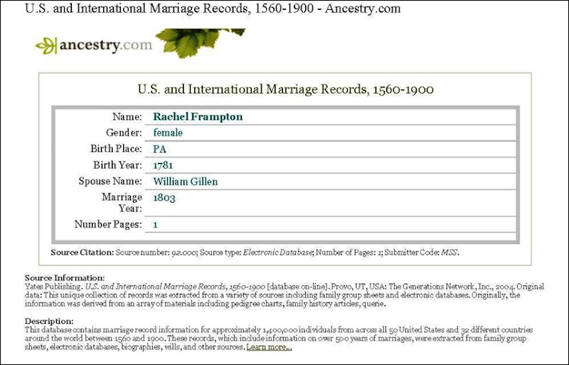 GILLEN_William & FRAMPTON_Rachel_marriage 1803