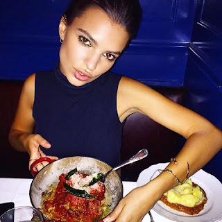 Emily Ratajkowki Emrata Instagram Eating Pasta in Black Mock Turtleneck Top