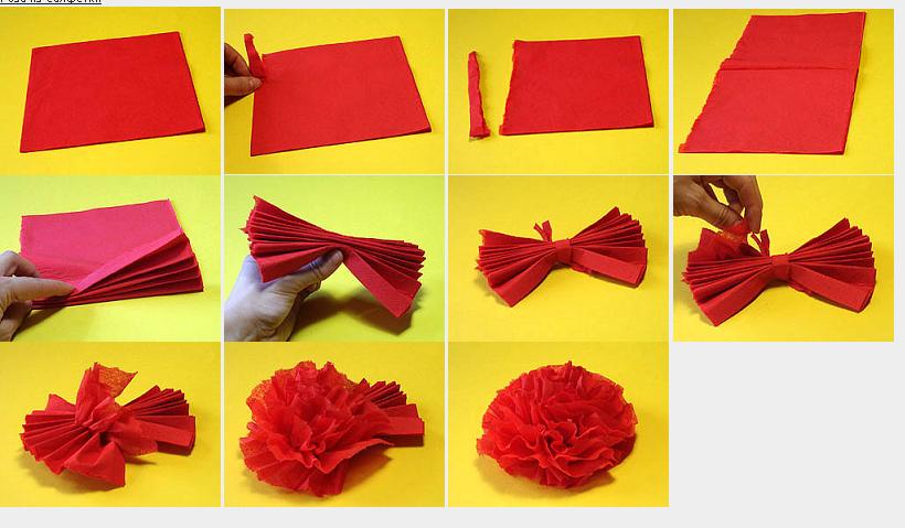 Сделать цветы из салфеток своими руками фото