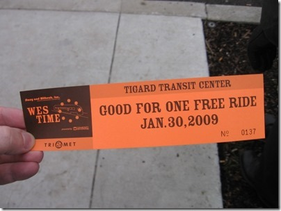 IMG_5374 TriMet Westside Express Service Grand Opening Ticket on January 30, 2009