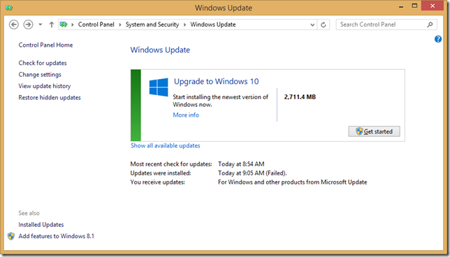 Windows Update in Control Panel, prompting to Get started
