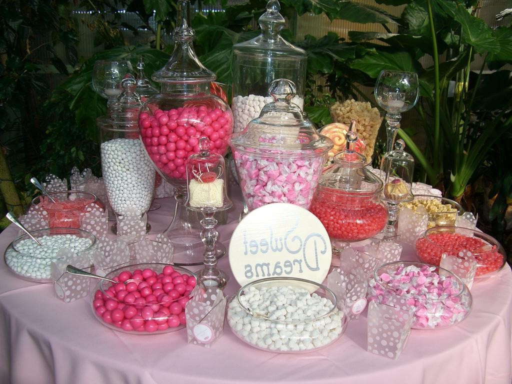 Candy tables at wedding