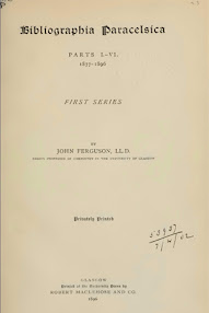 Cover of John Ferguson's Book Bibliographia Paracelsica (in Latin)