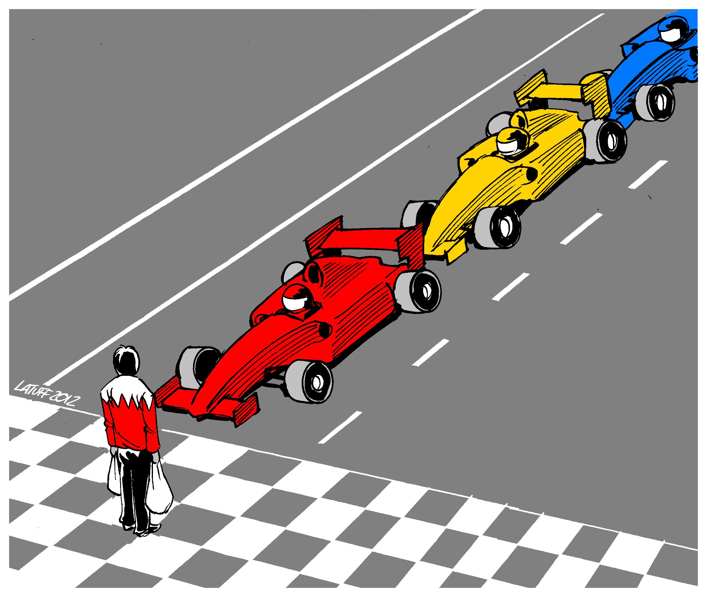 мужчина с авоськой - карикатура Carlos Latuff на тему Гран-при Бахрейна 2012