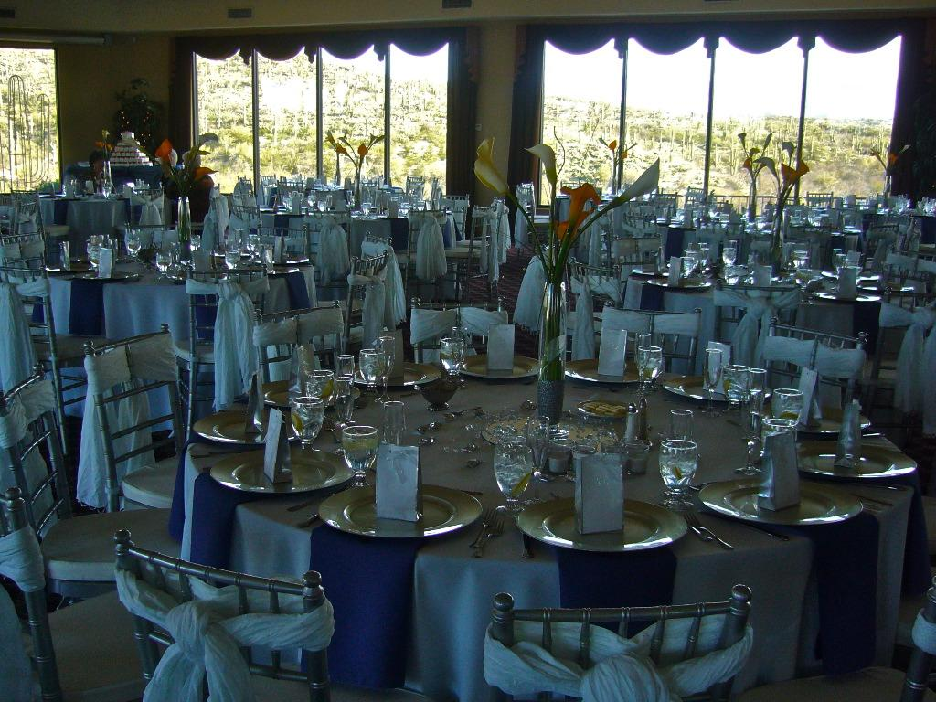 White linens, periwinkle blue