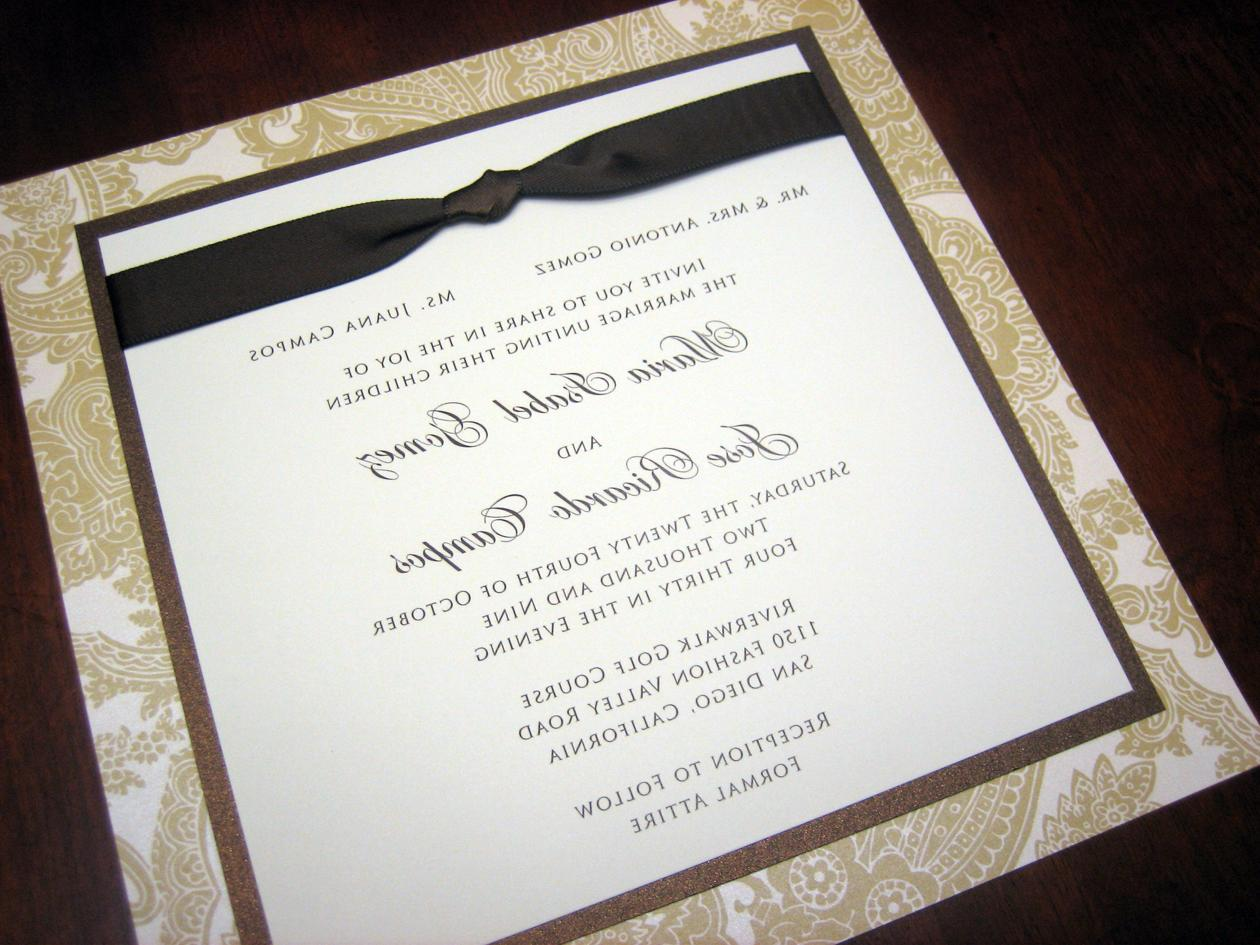 Champagne, Brown & Ivory Wedding Invitation